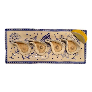 Oysters and Lemon on a Platter by Leslie Rylee For Sale