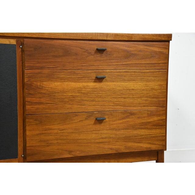 Brown Walnut and Black Vinyl Dresser For Sale - Image 8 of 11