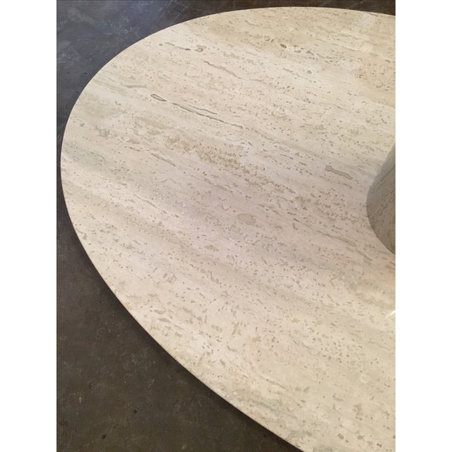 Mario Bellini for Cassina Travertine and Chrome Coffee Table with Glass - Image 8 of 9