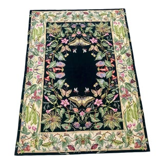 Butterfly and Insect Garden Needlepoint Rug - 5′ × 8′