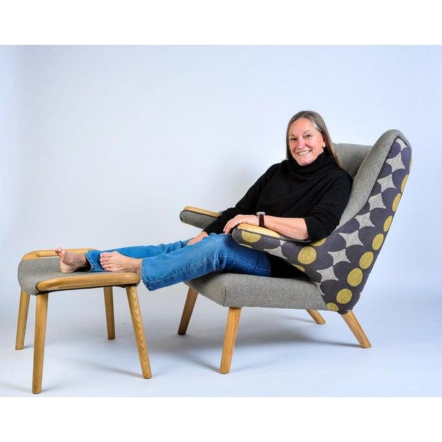 Mid-Century Modern Wegner Arm Chair & Ottoman For Sale - Image 9 of 10