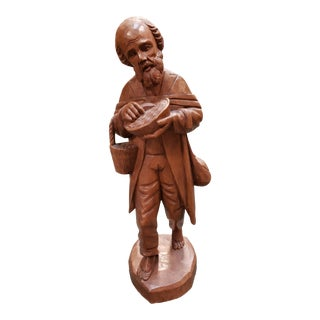 Mid 20th Century Old Wanderer Wood Carving Figurine For Sale