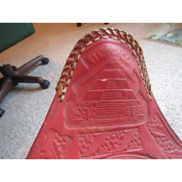 Vintage Mexican Craft Mid Century Red Leather Stool - Image 5 of 11