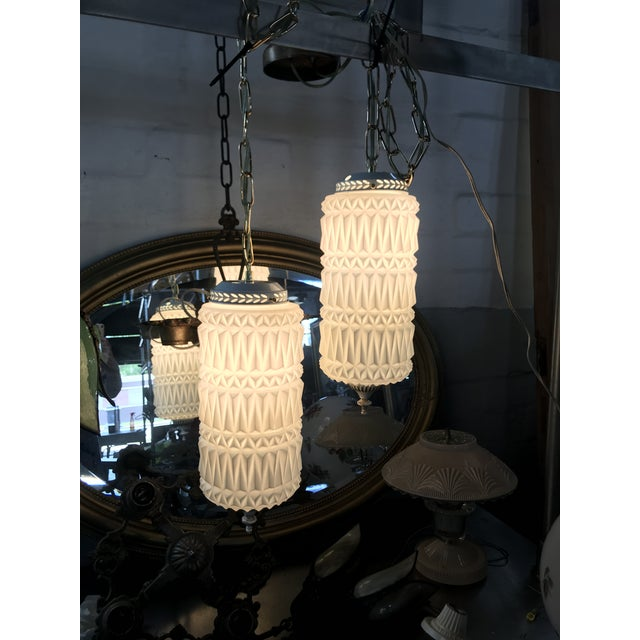 Mid-Century Modern Pendant Swag Lights - a Pair For Sale - Image 4 of 9
