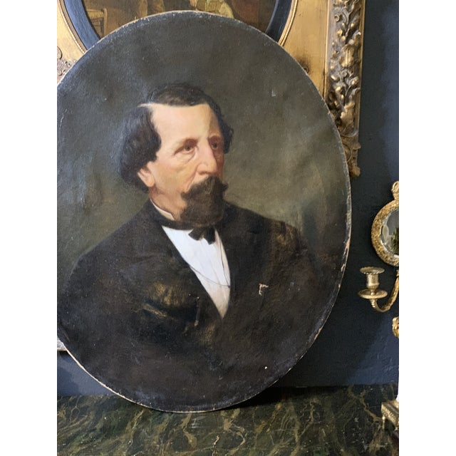 Canvas 19th-Century Oil on Oval Canvas Portrait Painting For Sale - Image 7 of 13