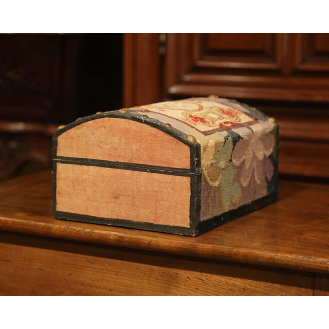 Metal Decorative Bombe Box With 18th Century Needlepoint Tapestry by J. Lamy For Sale - Image 7 of 11