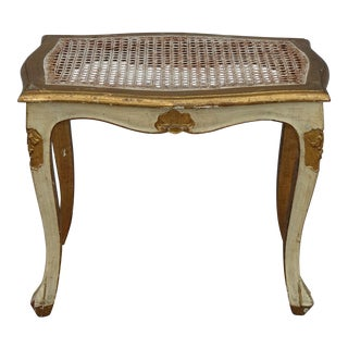 Vintage French Country Louis XVI Parcel Gold Gilt Cane Ottoman Bench Stool For Sale
