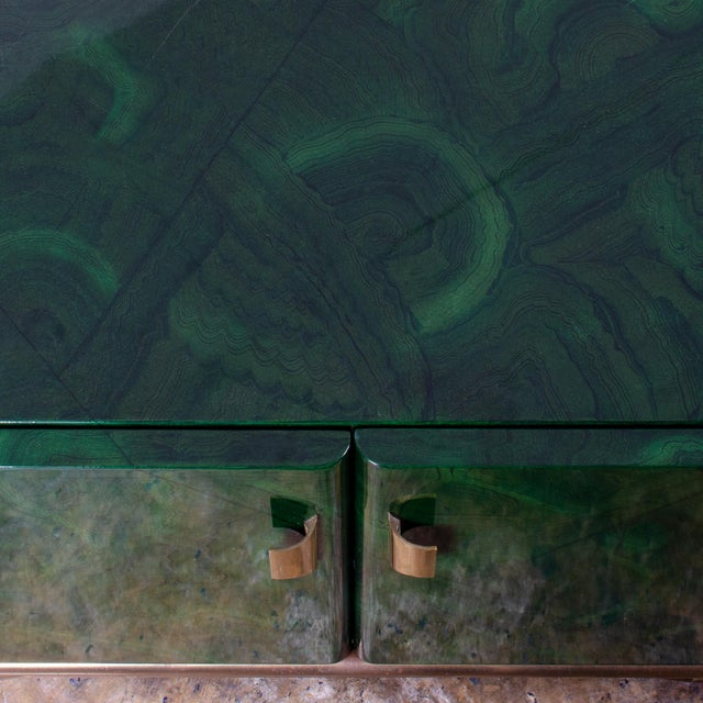 1970s Italian Malachite Lacquer Sideboard For Sale - Image 4 of 12
