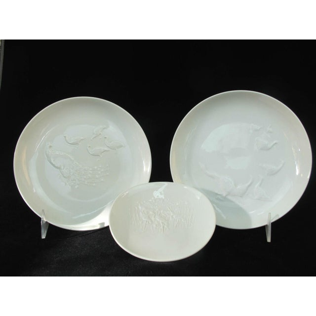 Vintage Arkadia KPM White Porcelain Birds Peacock Duck Heron Plate Dishes - 3 Pieces For Sale - Image 10 of 10