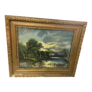 19th Century Antique Old Lake House Print Great Frame For Sale