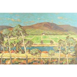 Frederick Korburg, 'Vineyards Along the Moselle River', Post Impressionist Oil Landscape, 1959 For Sale