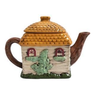 1950s Majolica Hand Painted House Teapot For Sale