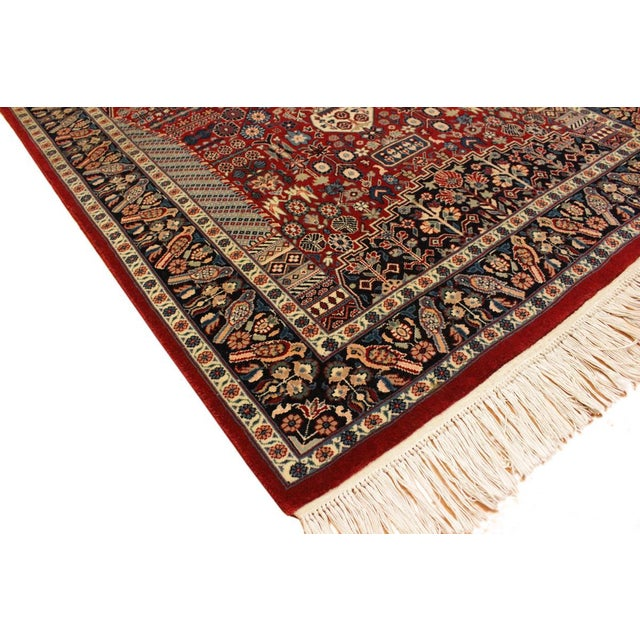 Fine Kashan Pak Persian Albert Red Blue Wool Rug 3 X 5