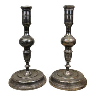 Oversized Beautiful Antique Bronze Candle Stick Holders - a Pair, Can Be Electrified For Sale
