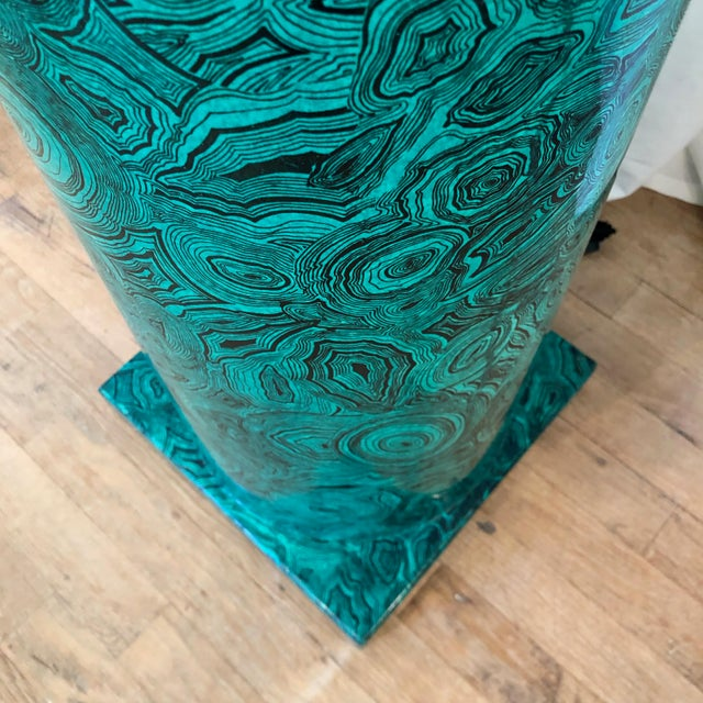 Green Piero Fornasetti Italian Faux Malachite Floor Lamp For Sale - Image 8 of 9