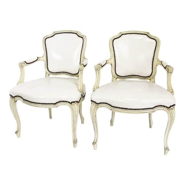 Mid-20th Century Boho Chic Carved Wood and White Leather Arm Chairs - a Pair - Image 1 of 13