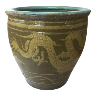 19th Century Chinese Dragon Pot Earthenware Jardiniere For Sale