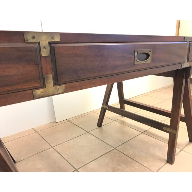 Brown Rosewood Campaign Desk with Leather Top For Sale - Image 8 of 9