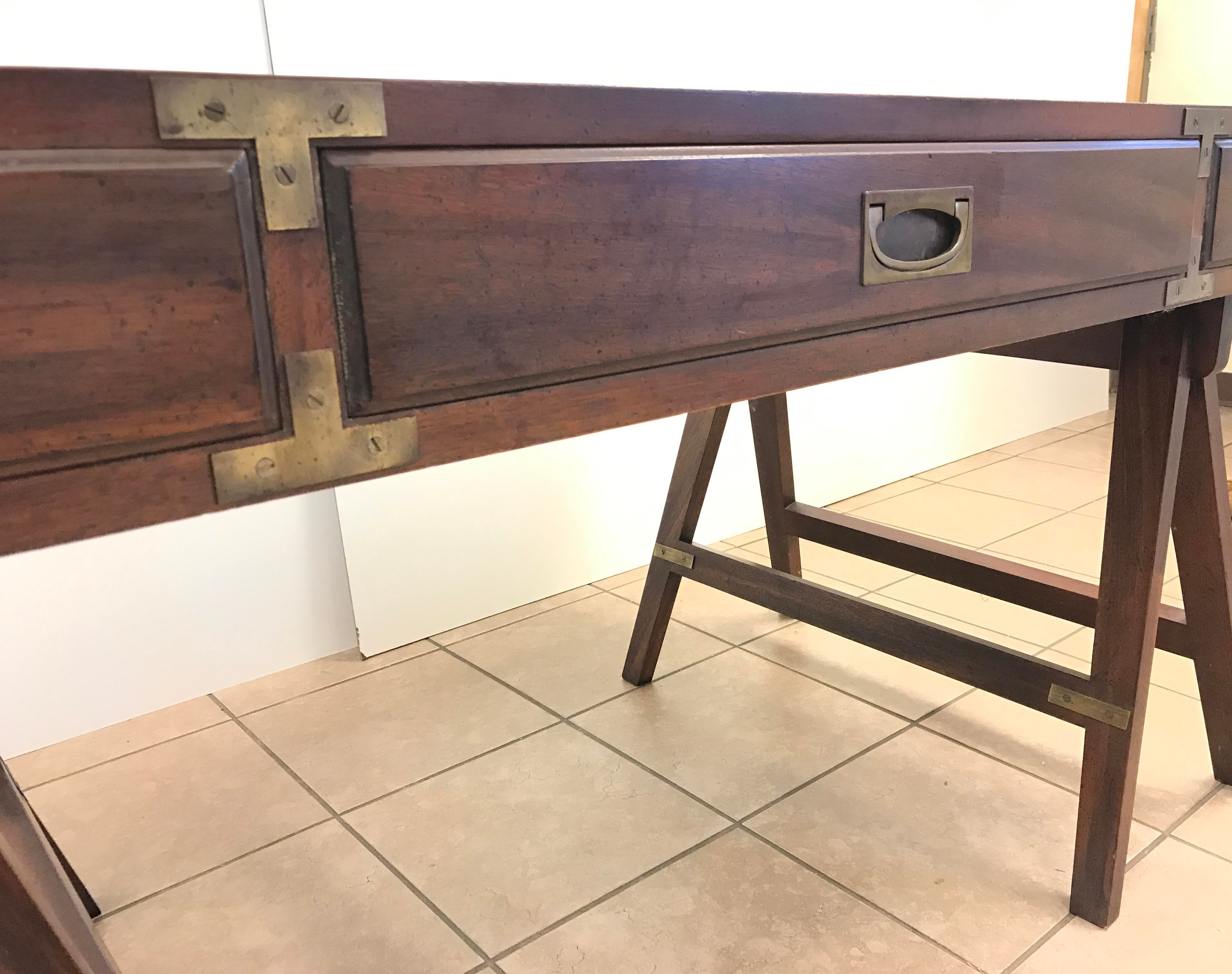 Brown Rosewood Campaign Desk With Leather Top For Sale   Image 8 Of 9