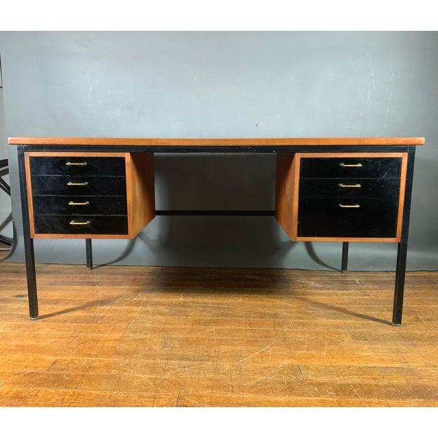 Mid-Century Teak & Black Lacquer 7-Drawer Desk For Sale - Image 11 of 11