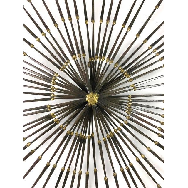 1970s Vintage Brutalist Welded Nail Starburst Wall Sculpture For Sale - Image 4 of 11