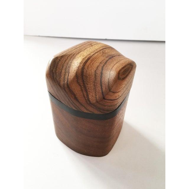 Artisan Walnut Ebony and Zebra Wooden Covered Box - Image 2 of 8