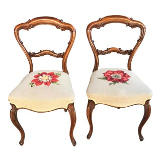 Victorian Balloon Back Chairs a Pair With Needlepoint Upholstery Red Flowers For Sale