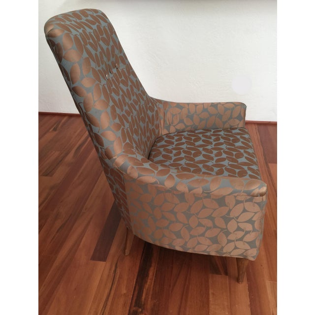 Mid-Century Modern Silk Leaf Upholstered Chair For Sale - Image 5 of 12