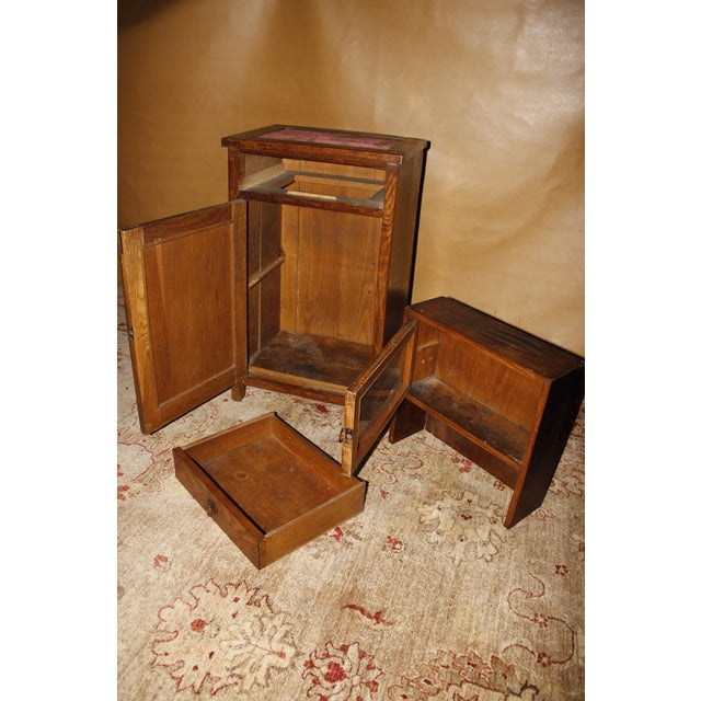 Art Nouveau Antique American Two-Part Step Back Cupboard With Hutch For Sale - Image 3 of 13