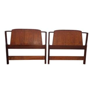 Vintage Mid Century Modern Brown Walnut Twin Headboards For Sale