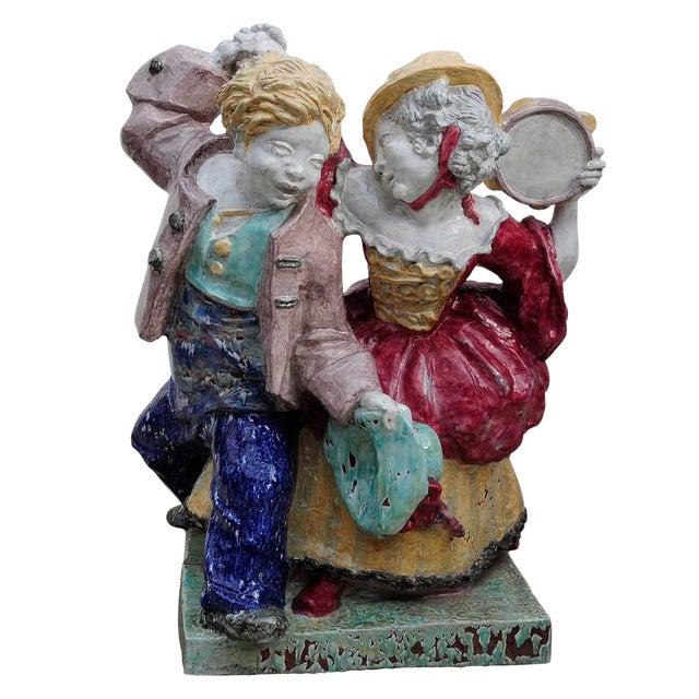 Nymphenburg Porcelain Sculpture Dancing Couple By Josef Wackerle For Sale