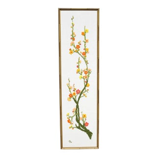 Large Crewelwork Orange Flowers in Gold Bamboo Frame For Sale