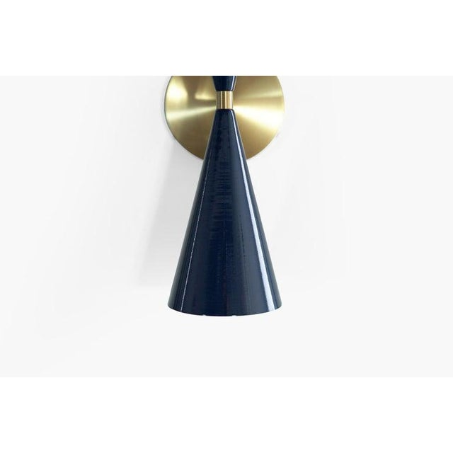 "Brass & Midnight Enamel ""Tuxedo"" Wall Sconces - a Pair For Sale - Image 10 of 12"