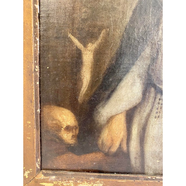 Antique 19th C. Portrait of Saint Dominic Oil on Canvas Painting For Sale - Image 4 of 11