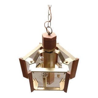 1970s American Frederick Ramond Brass and Teak Chandelier For Sale