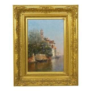 Antique Oil Painting Venice Venetian Canals by Warren Shepherd (American, 1858-1937) For Sale