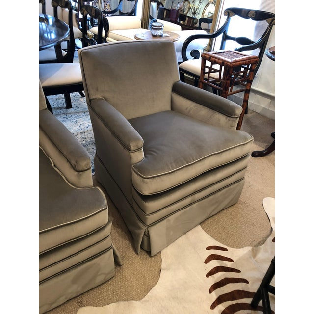 Super elegant pair of vintage compact sized luxurious club or lounge chairs newly upholstered in rich platinum velvet,...