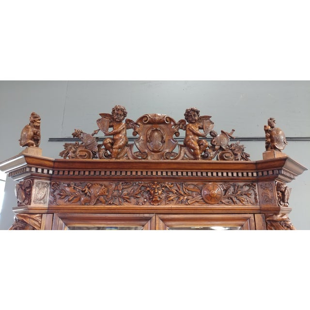 "19th century ""Highly carved"" Italian Renaissance Bookcase bookcase - Image 5 of 10"