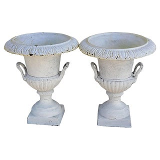 Pair Cast Iron Shabby French Urns Cast Iron Handled Mantle Urns/Planters For Sale