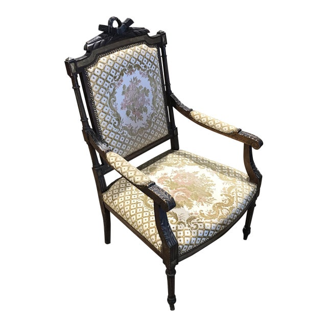 Antique Embroidered Floral Armchair For Sale