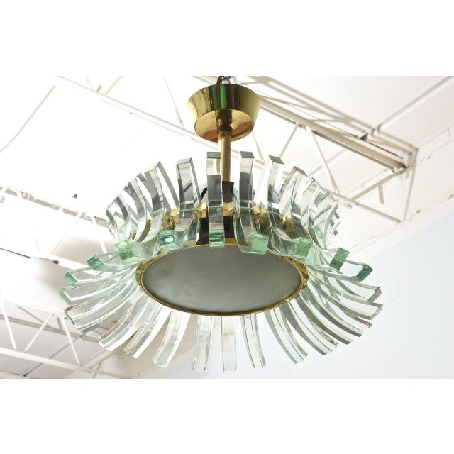 1950s Rare Fontana Arte Glass Chandelier, Italy, 1950s For Sale - Image 5 of 9