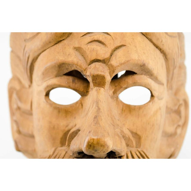 Arts & Crafts Italian Wood Carved Decorative Male Masks - a Pair For Sale - Image 3 of 13