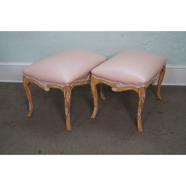 Unusual Faux Branch Leather Ottomans - A Pair - Image 3 of 10