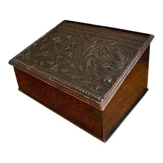 Antique English Carved Oak Bible Box Writing Slope Desk Book Lectern For Sale