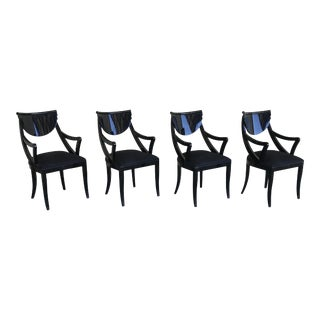 1980s Vintage Pietro Costantini Gondola Lacquered Dining Armchairs- Set of 4 For Sale