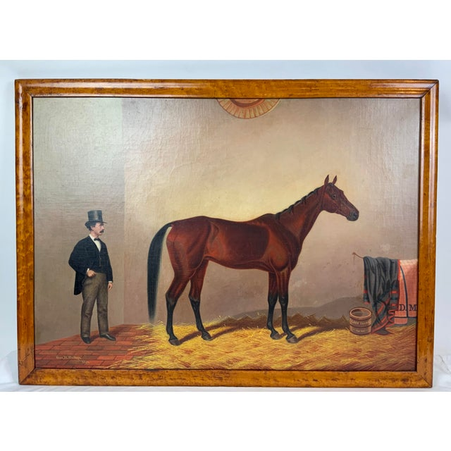 19th Century Equestrian Stall Oil Painting, Framed For Sale - Image 13 of 13