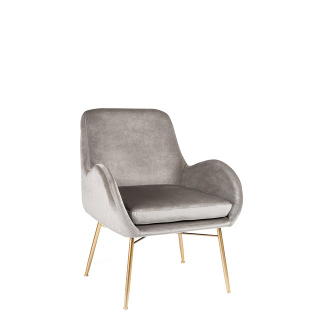 New Modern Gray Velvet Armchair With Gold Legs and Pillows - a Pair For Sale In Los Angeles - Image 6 of 11