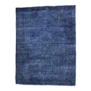 Distressed Blue Overdyed Vintage Persian Rug For Sale