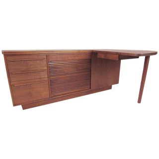 Mid-Century Modern Studio Made Executive Desk, Signed For Sale