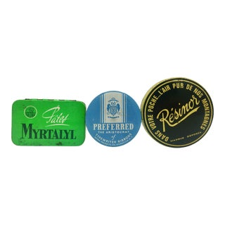 Old Tin Can Boxes The Aristocrat, Myrtalyl, Résinor - Set of 3 For Sale